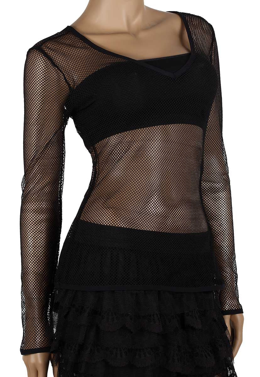 Womens Mesh Top V-Neck Long Sleeve Small Hole Black Fishnet Blouse Dance Wear #9 - Fishnet-Shirts - 1