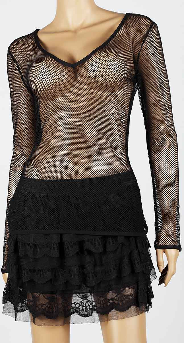 Womens Mesh Top V-Neck Long Sleeve Small Hole Black Fishnet Blouse Dance Wear #9 - Fishnet-Shirts - 2