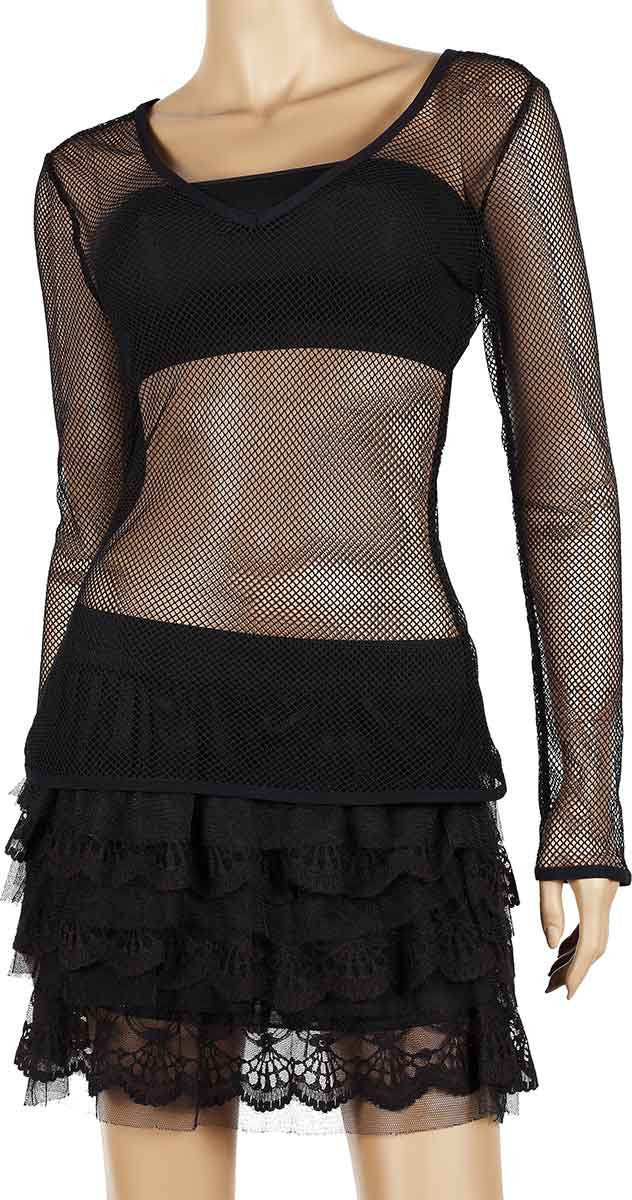 Womens Mesh Top V-Neck Long Sleeve Small Hole Black Fishnet Blouse Dance Wear #9 - Fishnet-Shirts - 3