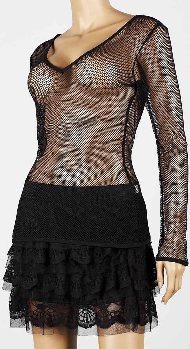 Womens Mesh Top V-Neck Long Sleeve Small Hole Black Fishnet Blouse Dance Wear #9 - Fishnet-Shirts - 6