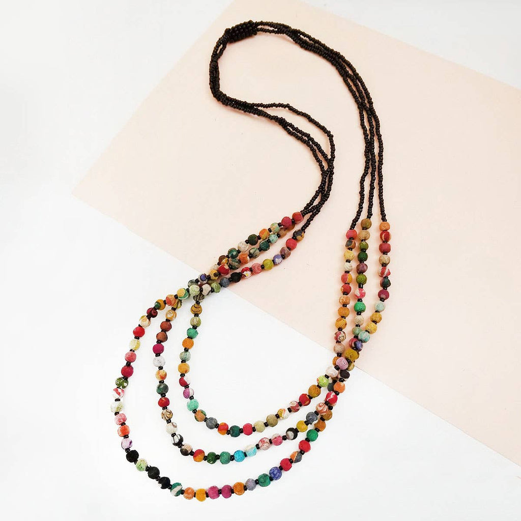 Kantha Triple Strand Necklace