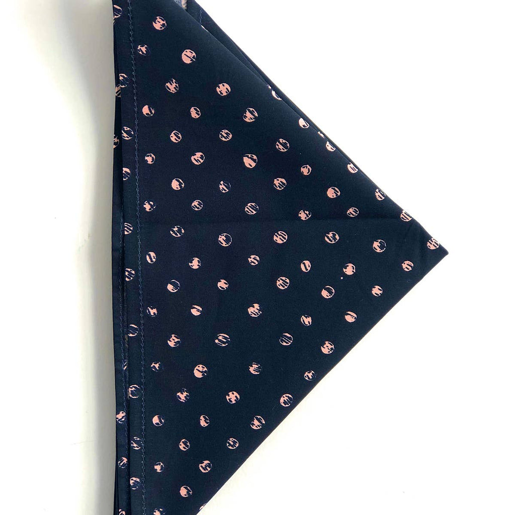 Hemlock Goods Monroe Bandana 23 x 23 100% cotton Navy ink circles