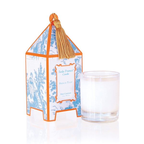 Seda France Candles - French Tulip Toile Mini Pagoda Box Candle
