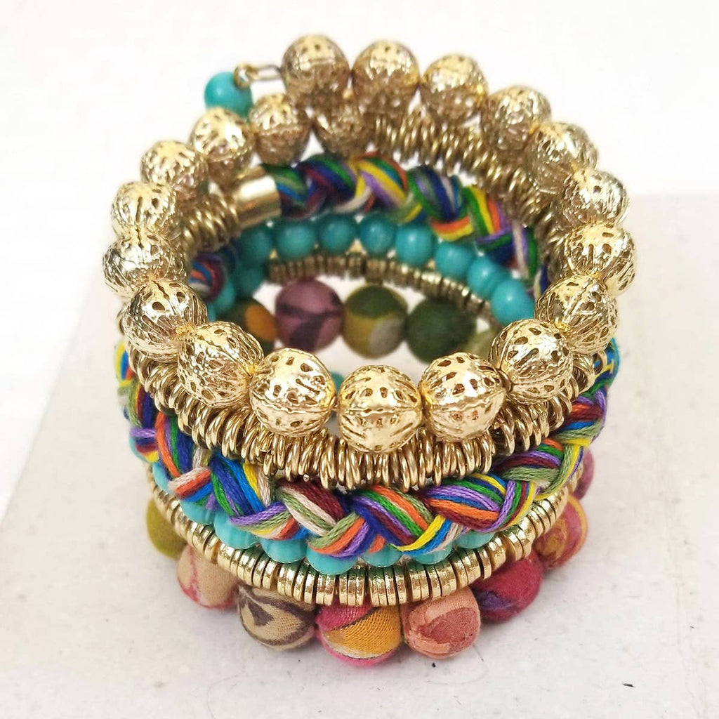 Kantha Mixed Media Spiral Bracelet