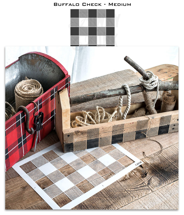 Funky Junk Medium Buffalo Plaid Stencil 10 x 14 inches