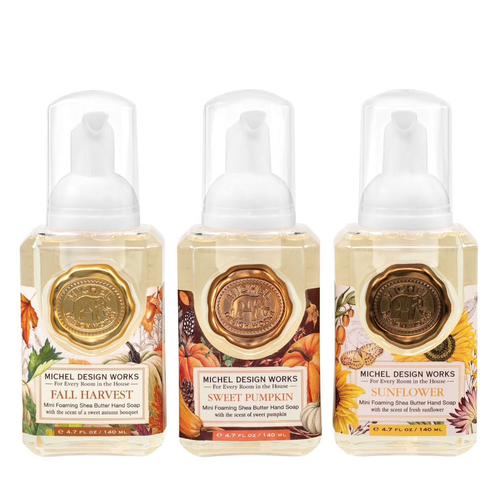 Michel Design Works Mini Foaming Hand Soap Set #6 Sweet Pumpkin, Sunflower, Fall Harvest