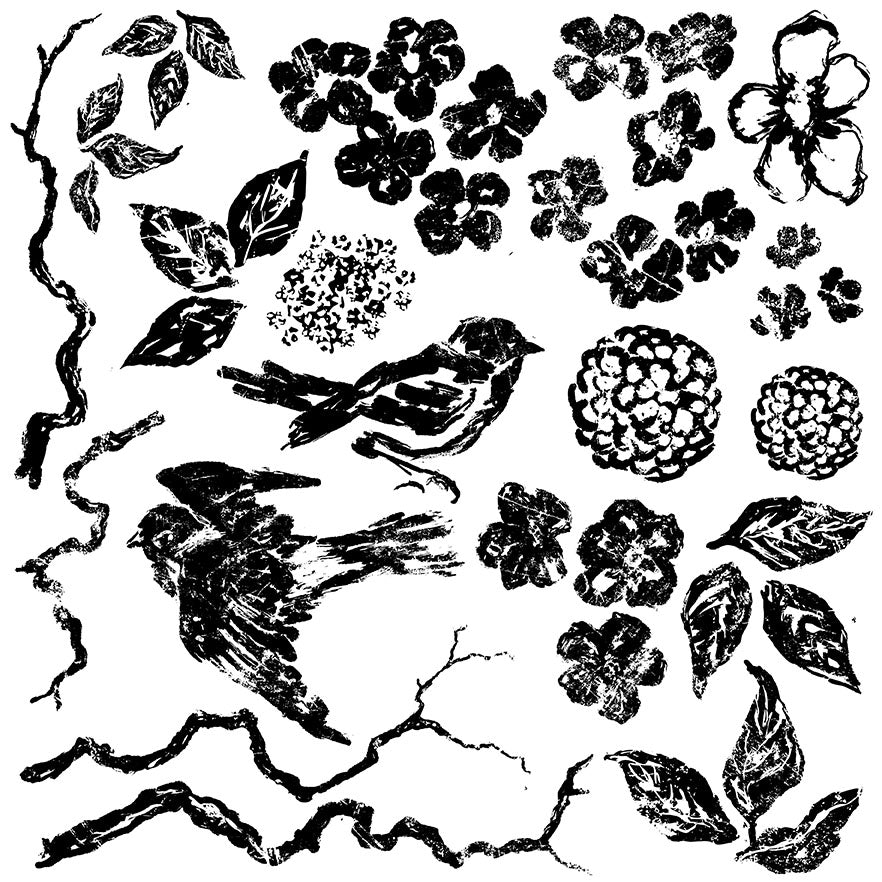 Iron Orchid Designs Birds , Branches, and Blossoms 12×12 DECOR STAMP™