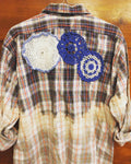 Plaid Shirt Art with quilt heart and doilies