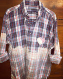 Plaid Shirt Art with quilt heart and doilies - BluebirdMercantile