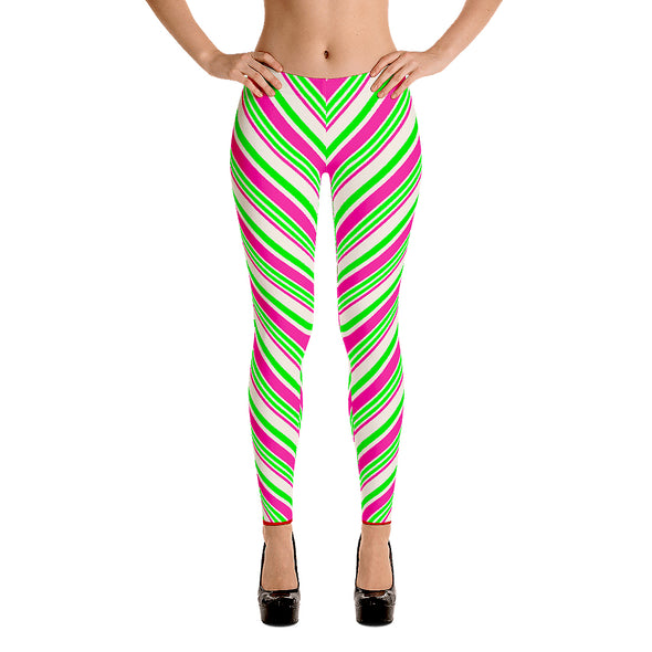 Pastel Candy Cane Stripe Leggings