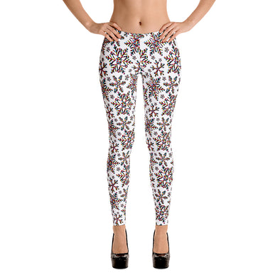 Snow Crystals Leggings (White)