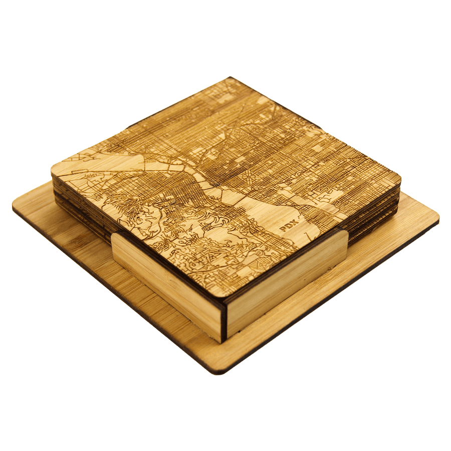 PDX Map Engraved Bamboo Coaster Set