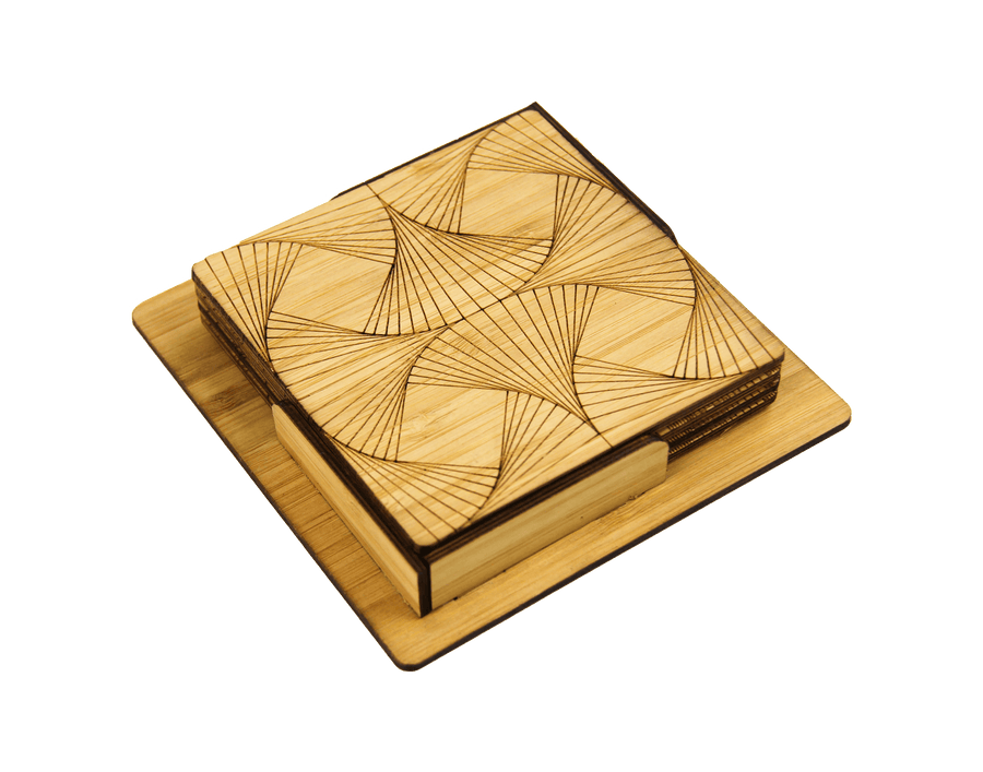 Quadrant Engraved Bamboo Coaster Set