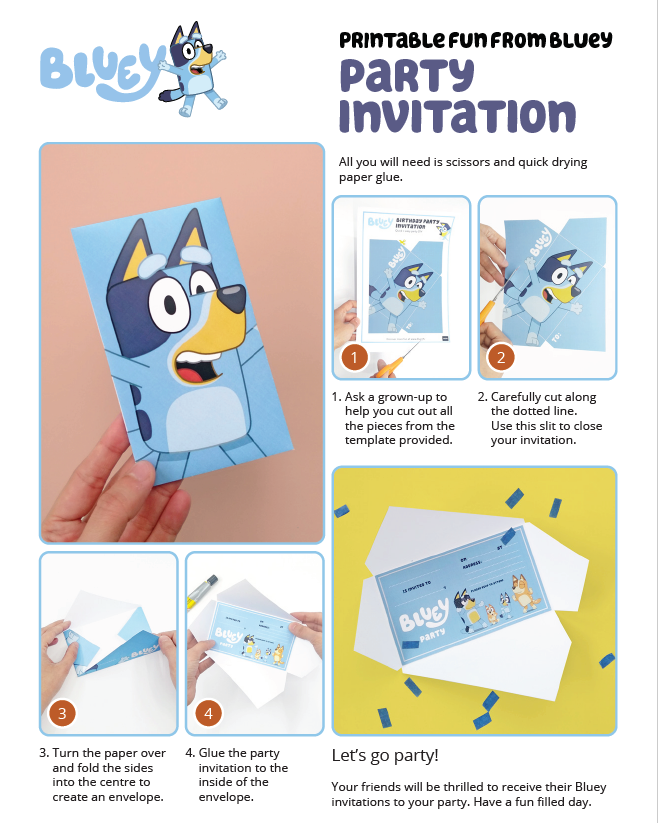 ABC Kids Bluey party invitation