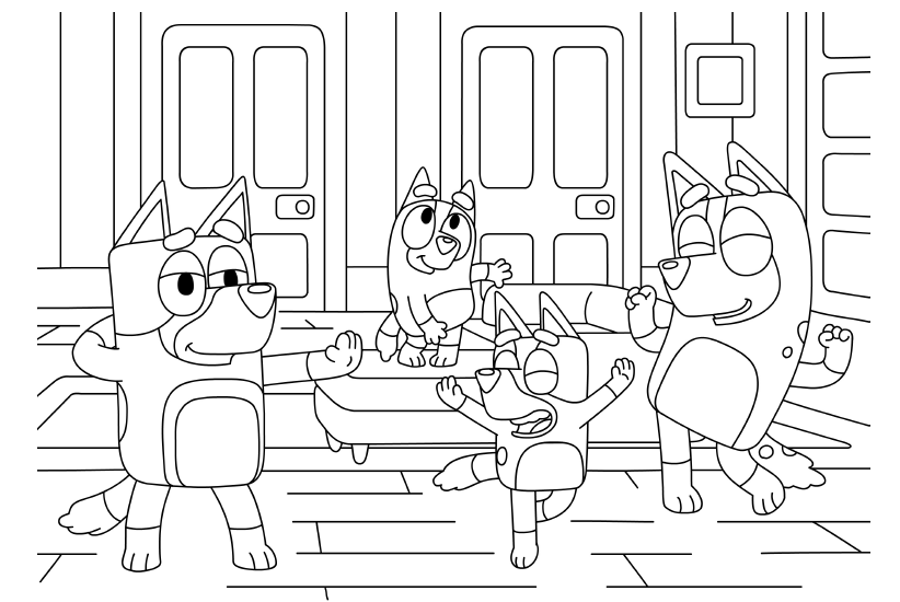 Bluey dancing colouring sheet