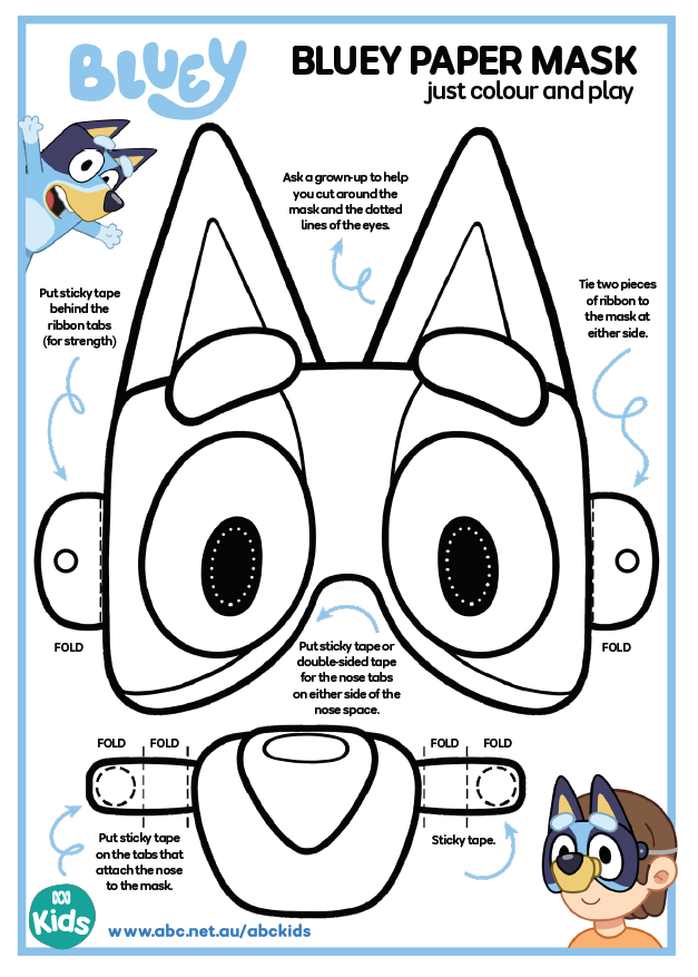 bluey party mask
