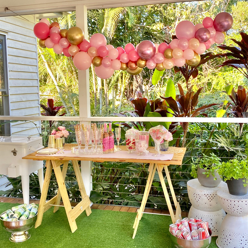 pink gold balloon garland picnic brisbane