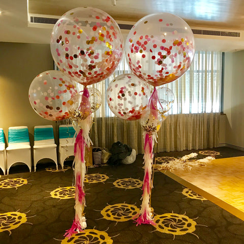 Jumbo confetti balloon bouquet brisbane
