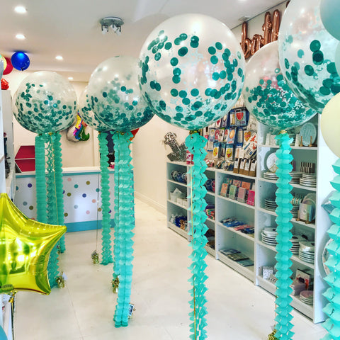 Midi 60cm confetti balloons with honeycomb tails