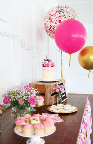 dessert table confetti balloons brisbane