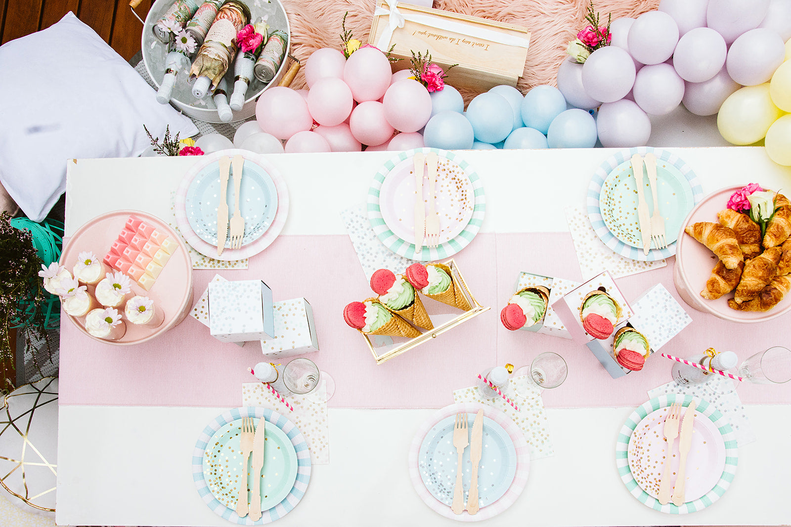 pastel table setting for bridal shower