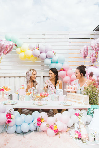 pastel balloon garland bridal shower brisbane