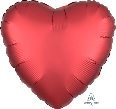 Satin Luxe Red Heart Foil  Balloon (43cm)