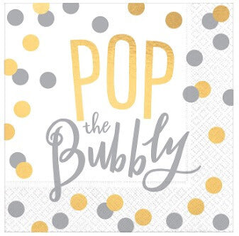 Pop the Bubbly Foil Cocktail Napkin (16pk)