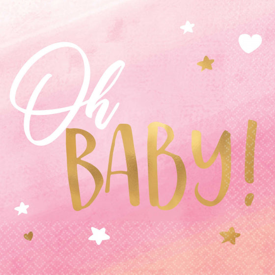 Oh Baby Cocktail Napkin - Pink