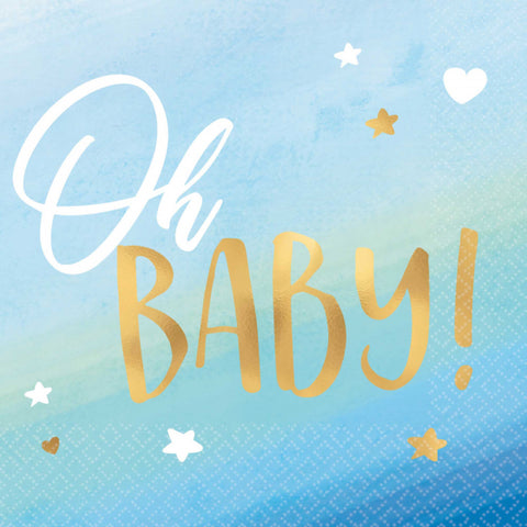Oh Baby Cocktail Napkin - Blue