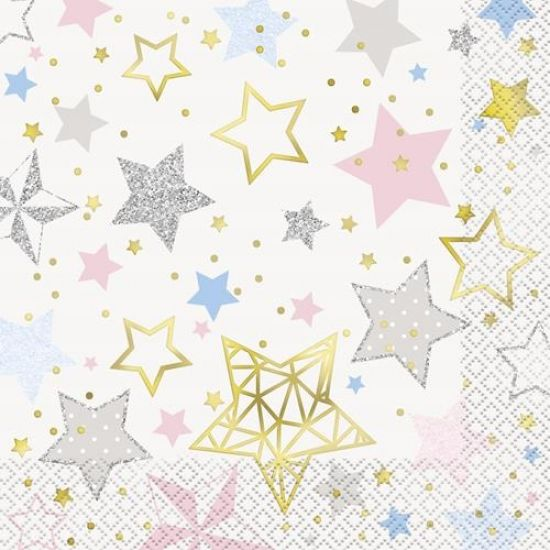 Twinkle Star 1st Birthday Cocktail Napkin