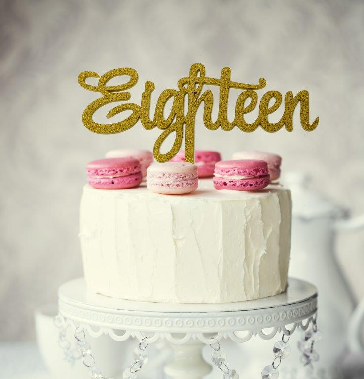Eighteen Gold Glitter Cake Topper