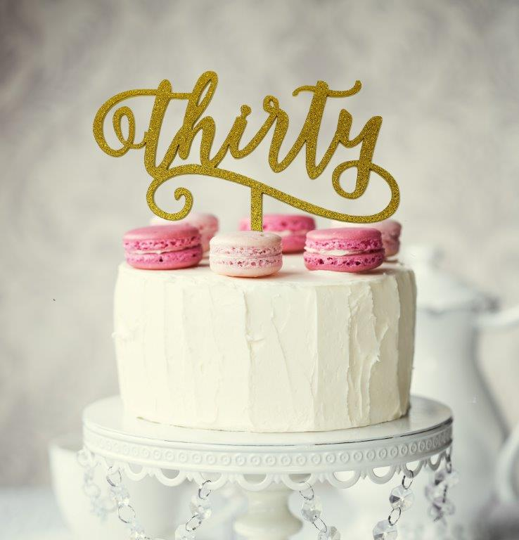 Thirty Gold Glitter Cake Topper