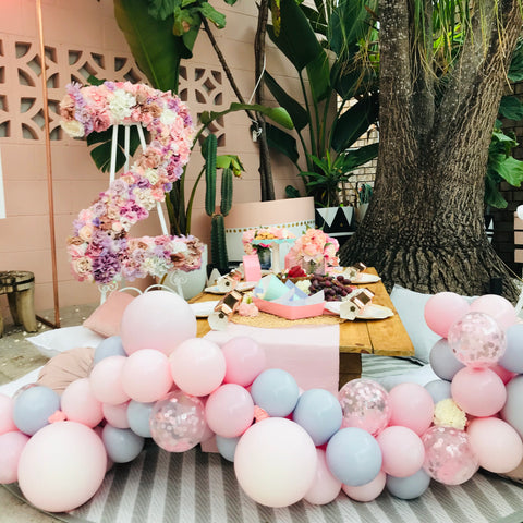 Chalky Pink & Grey Mini Balloon Garland