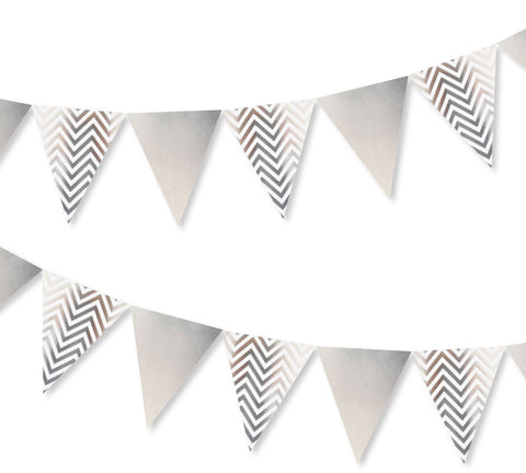 Silver Dots, Stripes & Chevron Bunting