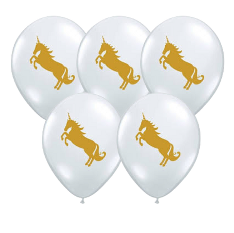 Clear Gold Unicorn Balloon (5Pack)