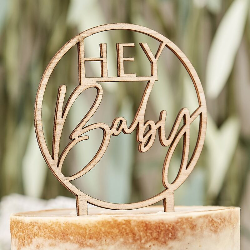 Hey Baby - Wooden Cake Topper