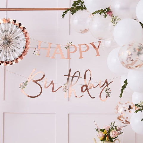 Happy Birthday Banner - Rose Gold Floral