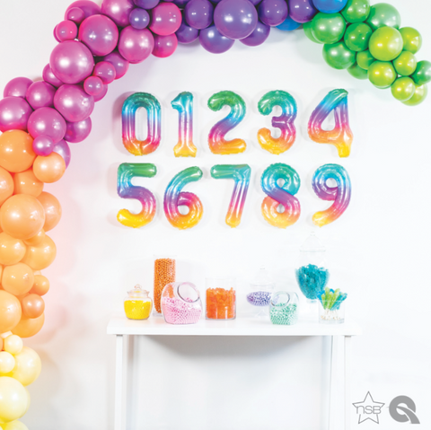 "Small 16"" Foil Numbers - Rainbow (40cm)"