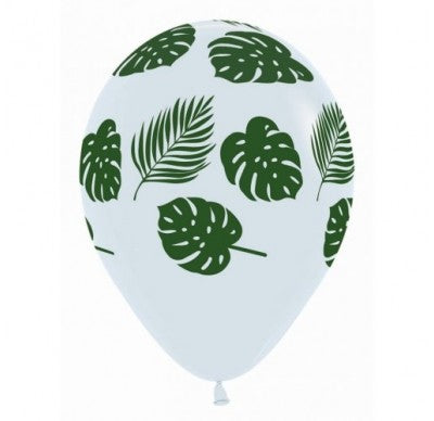 Jungle Leaf Print - White Balloon (6pack)