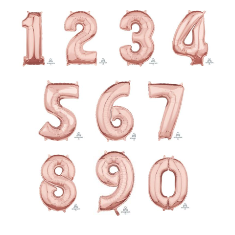 Midsize Foil Numbers - Rose Gold (66cm)