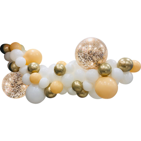 White, Chrome Gold & Confetti - Jumbo Balloon Garland Kit 2m