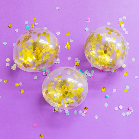 Mini Gold Confetti Balloons (5 Pack)