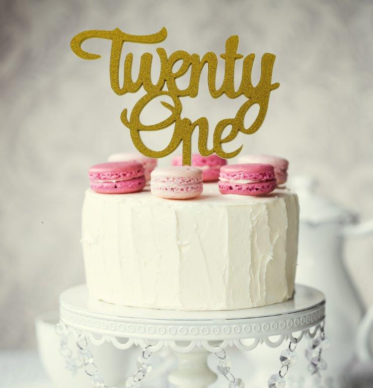 Twenty One Gold Glitter Cake Topper