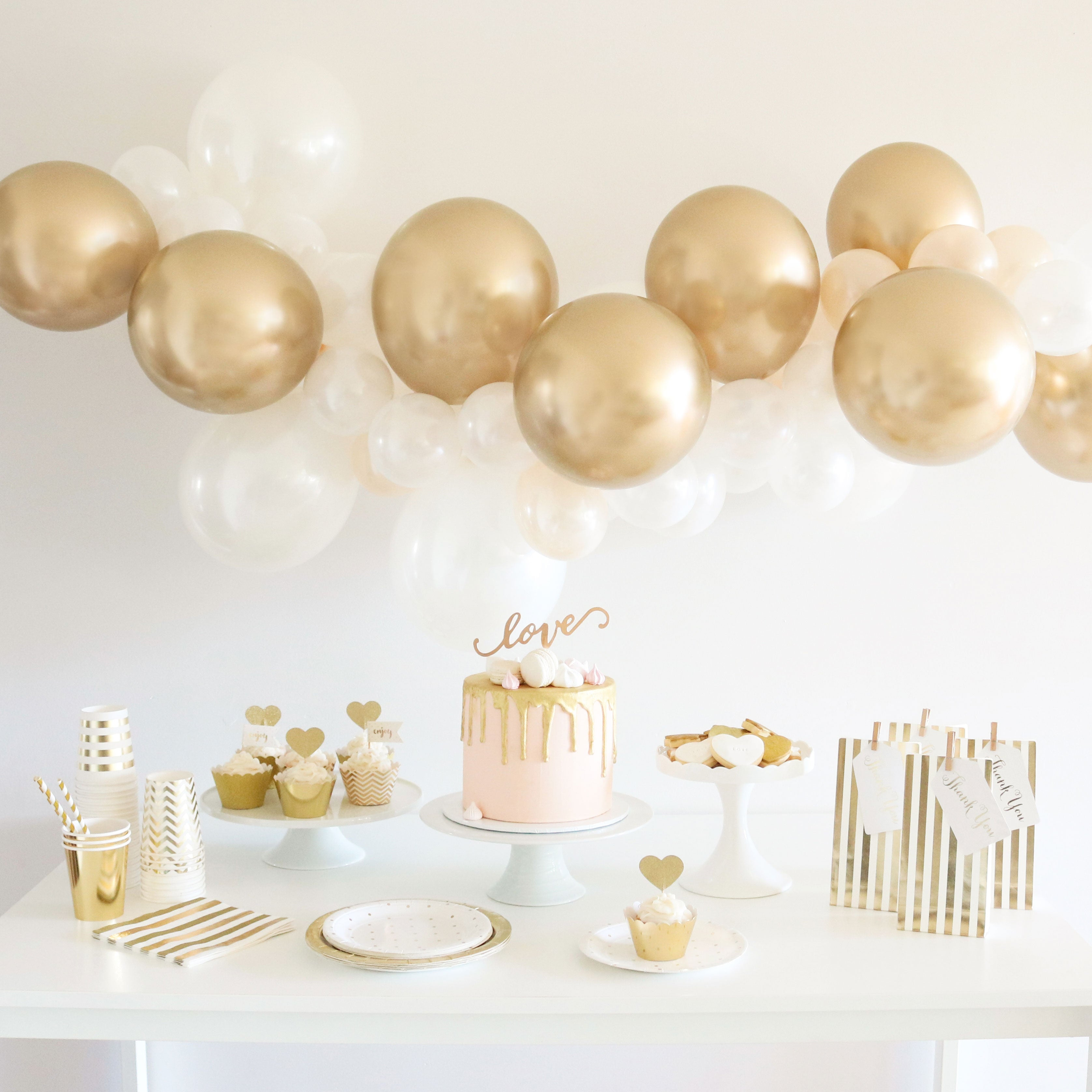 Gold White Mini Balloon Garland Kit Lovely Occasions
