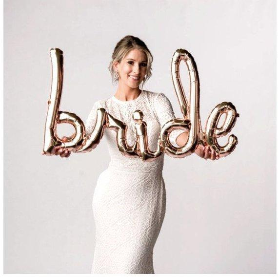 Bride Rose Gold Script Balloon