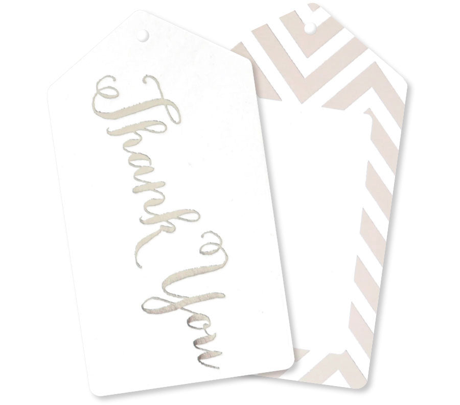 Silver Thank You Tags - Pack of 10