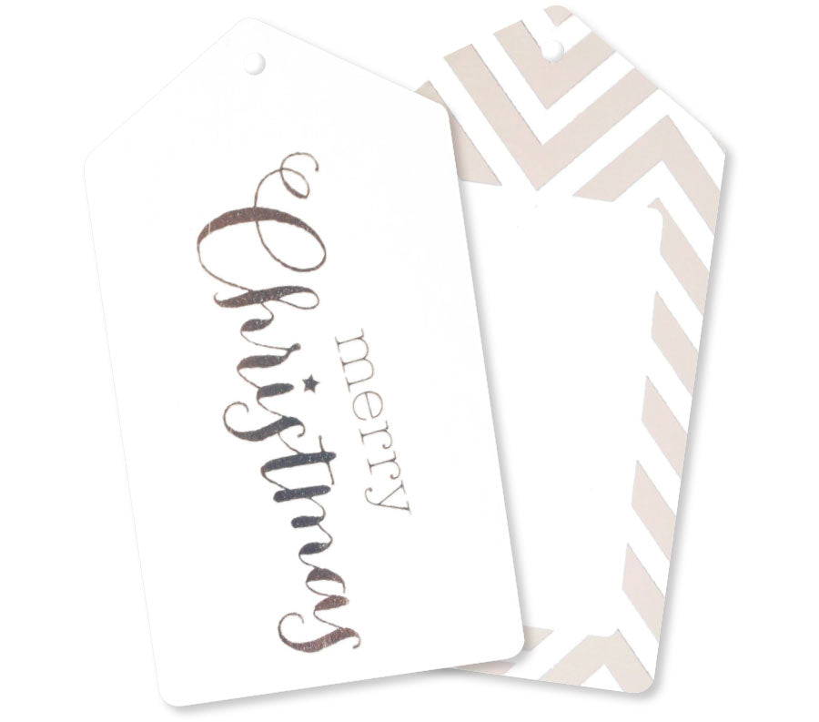 Silver Merry Christmas Tags - Pack of 12