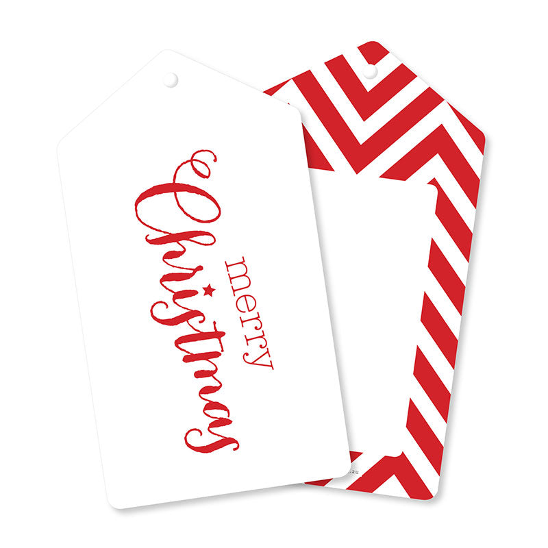 Red Merry Christmas Tags - Pack of 12