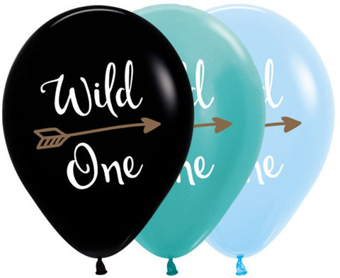 wild one printed balloons